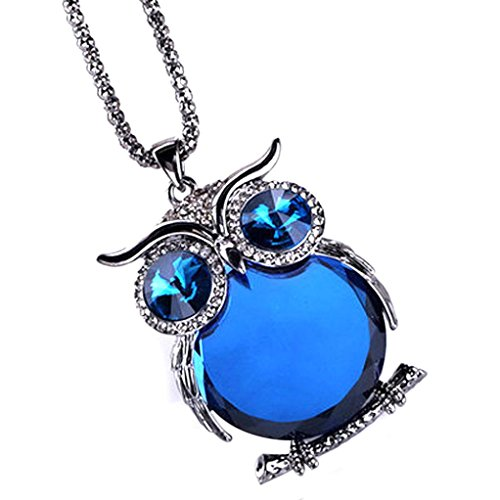 Challyhope Lucky Cute Owl Pendant Crytal Graceful Sweater Chain Long Necklace Jewelry Gifts For Womens Girls (Black + Blue, Alloy) ()