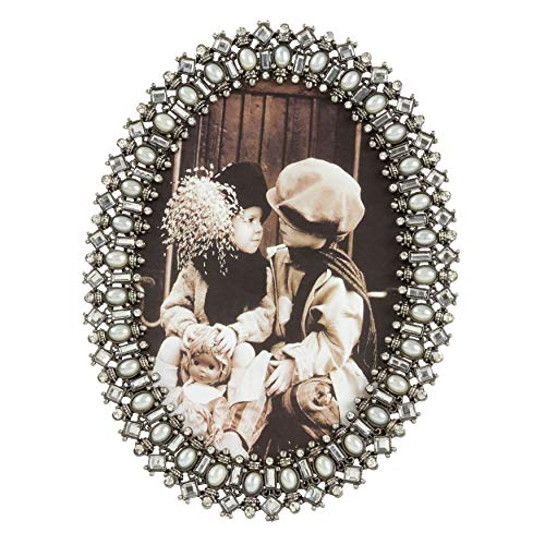 SARO LIFESTYLE Bejeweled Photo Frame with Oval Shape, 4
