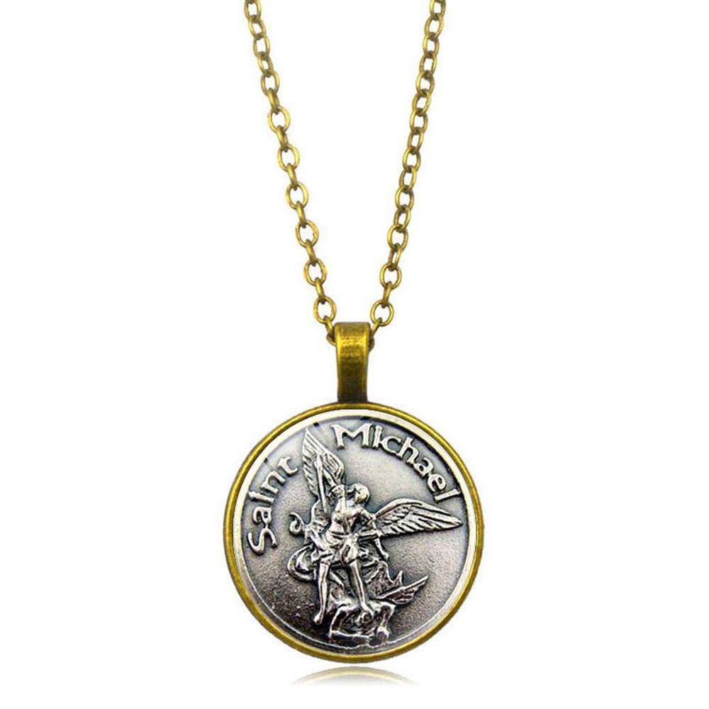 Luxury Gift Women Black Adult Archangel St.Michael Pendant Necklace Saint Michael Pendant Necklace Protection St.Michael Medal Jewelry -Gift for Men HANDMADE JEWELLERY