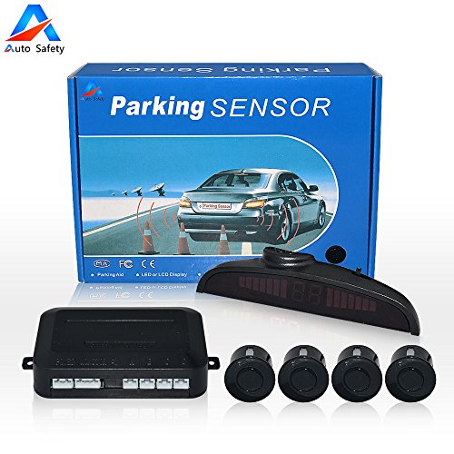 Car Reverse Backup Radar System Auto safety parking sensor kit ,LED Dispaly + Human Voice Alert +4 sensors+4 colors for Universal Auto Vehicle (Black)