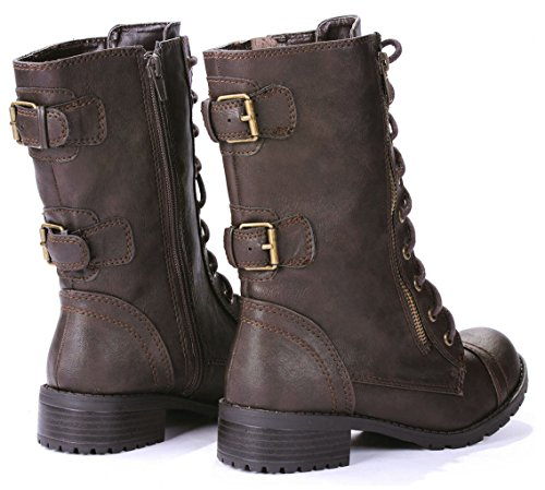 5 Up Domesa Brown JJF Mid Boots Leatherette Zipper Buckle Dual Military Lace Shoes Womens 5 Calf vwHq6