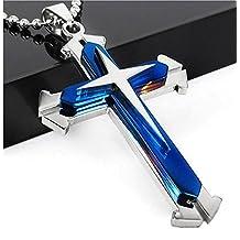 XY Fancy Stainless Steel Cross Pendant Men's Necklace Chain (Blue)