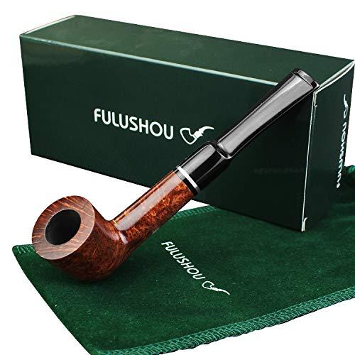 (FULUSHOU Mediterranean Briar Wood Tobacco Pipe, Mini Straight Tobacco Pipe,Dad Gift)