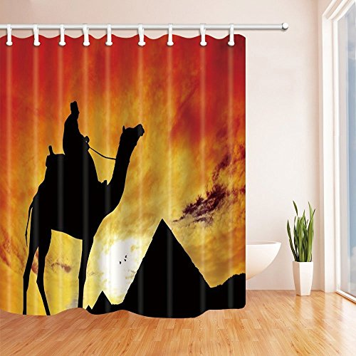 - HiSoho Egyptian Decor, Camel Pyramid Silhouette at Sunset Shower Curtain, Resistant Polyester Fabric Bathroom Decorations, Bath Curtains Hooks Included, 71X71 inches