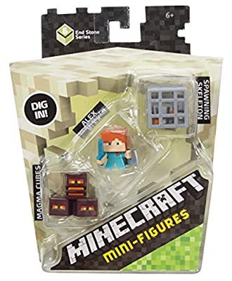 Skeleton in Cage Minecraft Mini Figure (3 Pack) - Magma Cubes Alex with Shield by Mattel