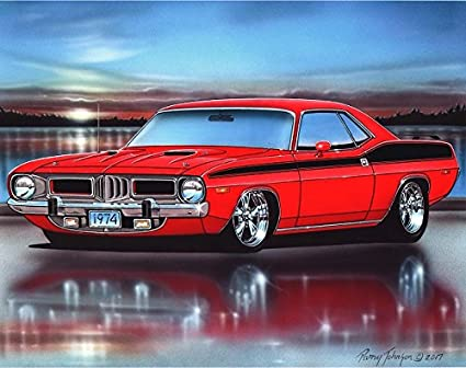 amazon com 1974 plymouth cuda 360 muscle car art print red 11x14