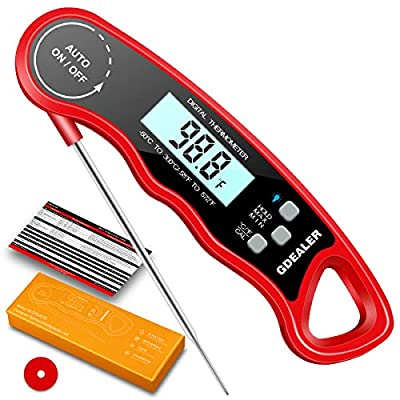 GDEALER Waterproof Digital Meat Thermometer Super Fast Instant Read Thermometer with Calibration and Backlit Function
