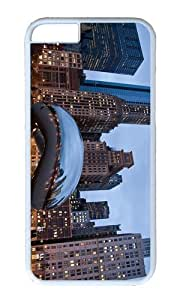 MOKSHOP Adorable Cloud Gate Chicago Hard Case Protective Shell Cell Phone Cover For Apple Iphone 6 Plus (5.5 Inch) - PC White