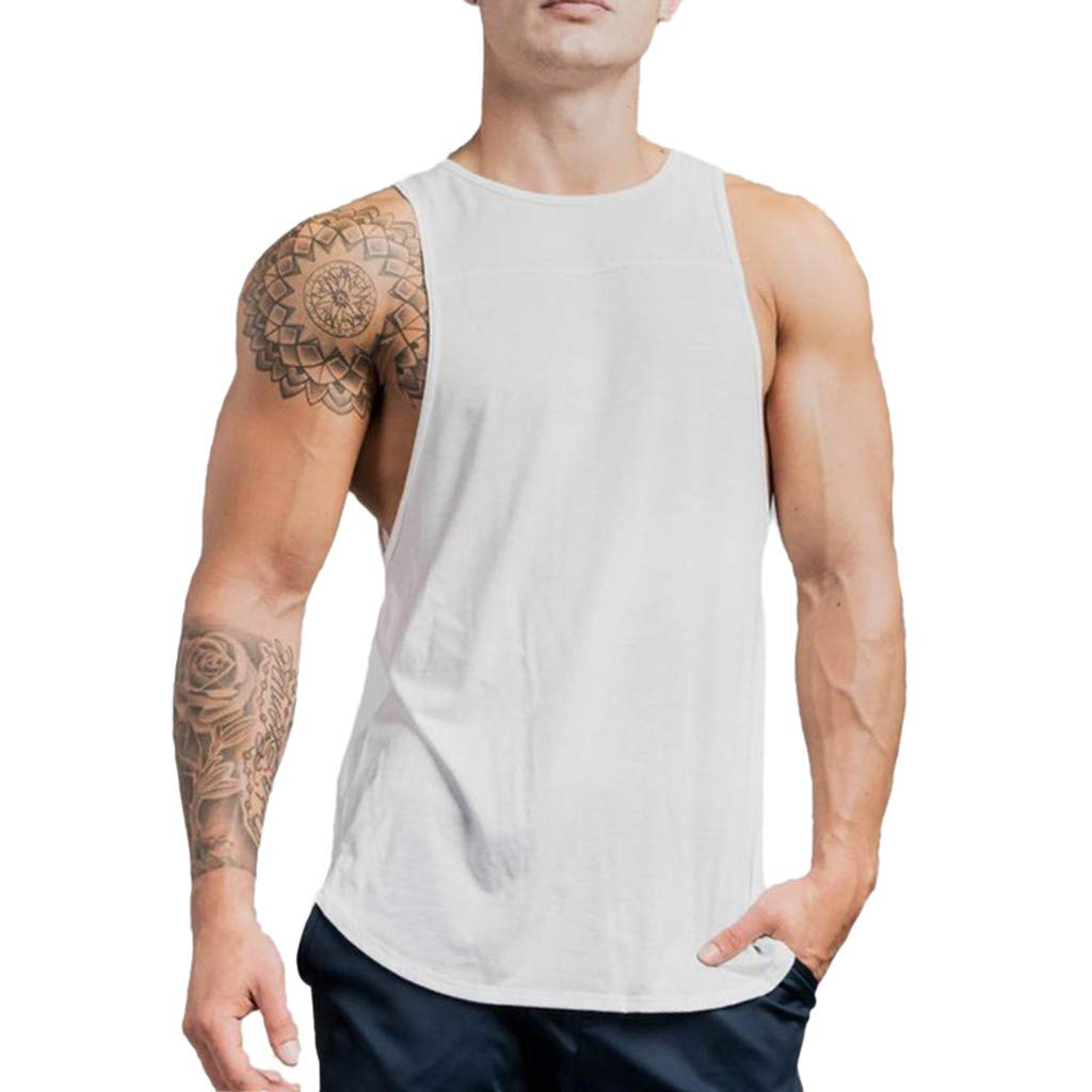 Winsummer Men Fitness Tank Top Bodybuilding Breathable Sleeveless Stringer Workout Gym Muscle Vest T-Shirt Size M-XXL White