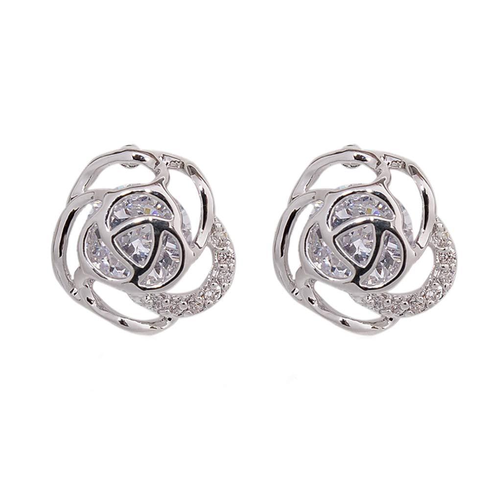 Babasee Gold Silver Rose Flower Zircon Rhinestone Stud Earrings Turtle Animal Earrings
