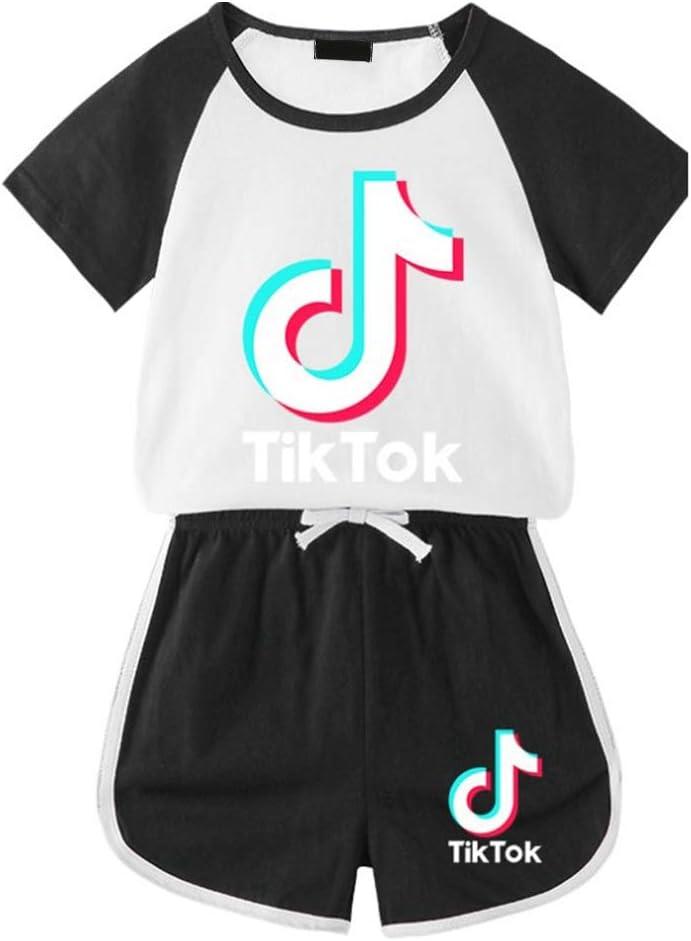 gelb 8 Jahre Kinder M Nicht zutreffend MXLY 2-teiliges Outfit Sommerkleidung TIK-Tok Print T-Shirt Kurzarm Tops Hosen Gym Sommer Freizeit Sportbekleidung Pyjama Casual Kleidung 3