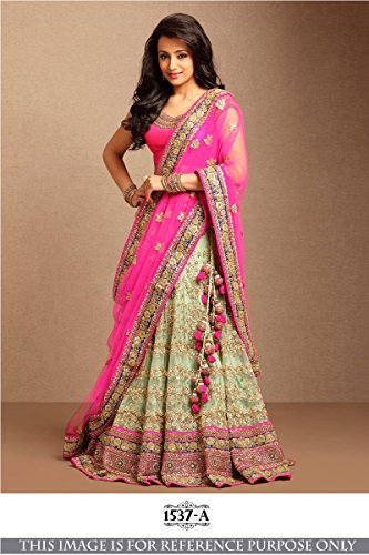 Shopaholic Women's Net Designer Lehenga Choli Free Size Multi