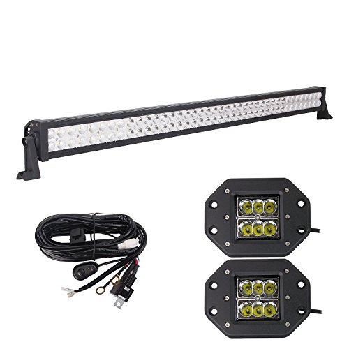 Led Light Bar, 42'' 240W Combo, 2X 24W Spot CREE Flush Mount, Wiring Harness, Bangbangche Led Driving Fog Lighting for Tractor Trailer Truck forklifts ATV SUV JEEP Boat Snow Plow 4 wheeler