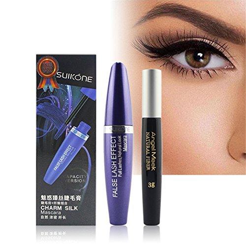 - POPVCLY 2 in 1 3D Silk Fiber False Eyelashes Mascara Kit, Full Lashes Natural Look Slender Eyelash Stretching Thick Mascara