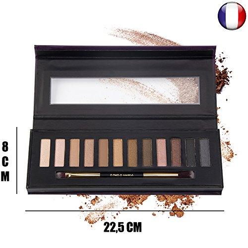 Ombres fards à paupières Naked 4 by O.two.o avec pinceau profesionnel flufy et plat couleur nude marron