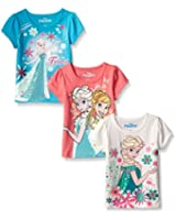 Disney Girls' 3 Pack Frozen Tees