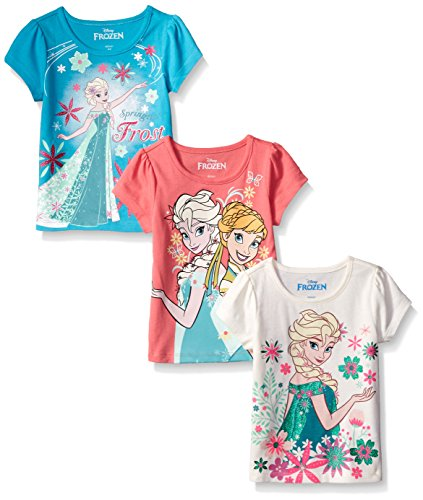 (Disney Little Girls' 3 Pack Anna Elsa Frozen T-Shirts, Off White/Turq/Coral, 5)