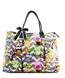 Quilted Cotton Owl Chevron or Damask Extra Large Tote Bag (Chevron Owl Grey/Grey)