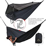 Double Hammock - Everest | Bug & Mosquito Free Camping and Outdoors Hammock Tent Built-in Reversible Net YKK Zipper Ripstop Nylon - Charcoal / Net Black