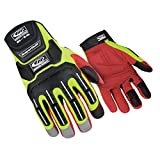 Ringers Gloves R-14 Mechanics HiVis, Cut and Impact Protection, Padded Palm, Small