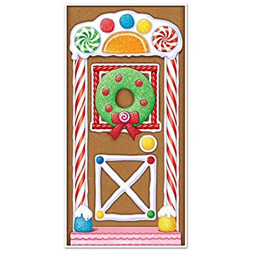 beistle 20017 gingerbread house door cover 30 x 5 - Candyland Christmas Door Decorations