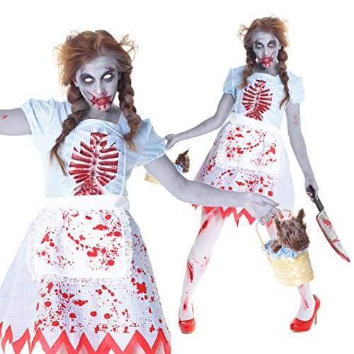 [Womens Wizard of Oz Dorothy Zombie Costume - Quality Halloween Costume,Med 6 - 8 US,Blue] (Fantastic 4 Costume Uk)