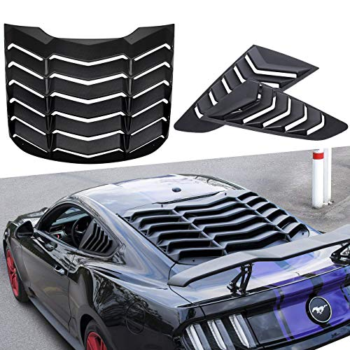 Yoursme Rear Window Louvers and Quarter Side Window Scoop Louvers Matte Black ABS Fits for Ford Mustang 2015 2016 2017 2018 2019 ()