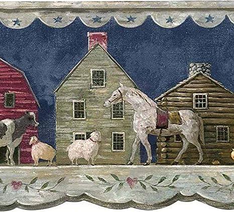 Waverly Wall Border 5506922 Blue Folk Art Shelf Wallpaper Cow Sheep Horse Rustic Buildings Country Americana Barn Stars Home Decor Amazon Com