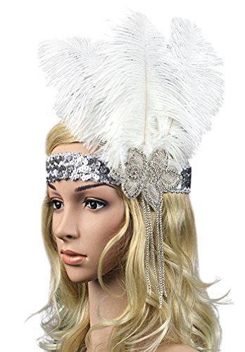 Zivyes 1920's Gatsby Inspired Pearl Beaded Sequined Feather Flapper headband (White Ganster)