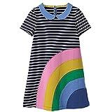 Girls Dresses Cartoon Print Cotton Summer Tunic Dress Short Sleeve (18M, Rainbow-1)