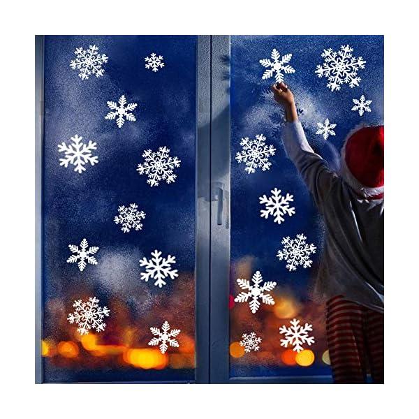 Adesivo Fiocco di Neve per finestre, 108 Natale Vetrofanie Rimovibile Adesivi Murali Finestra Decorazione Fiocco di Neve Decorazioni Natalizie Fai da Te Sticker Decorativi da Finestra 4 spesavip