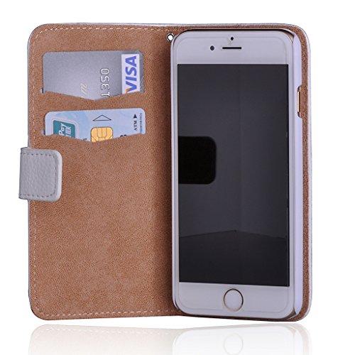 Infinite U–Coppia Orsi strass Portafoglio Porta Carte di Credito in Pelle per Telefono Cellulare custodia/cover per iPhone 6/6S 4.7, da donna