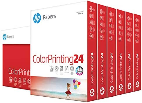 HP Printer Paper 8.5x11 ColorPrinting 24 lb 6 Pack Case 2400 Sheets 97 Bright Made in USA FSC Certified Copy Paper HP Compatible 202040C