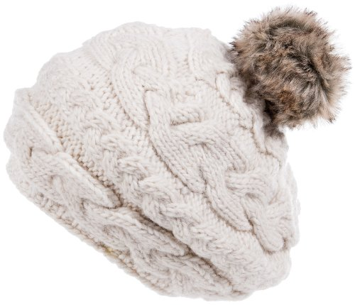 Nirvanna Designs CH700 Circular Cable Beret with Fleece and Faux Fur Pom, White