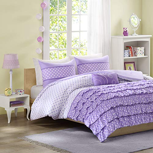 Mi-Zone Morgan Comforter Set Full/Queen Size - Purple, Polka Dot – 4 Piece Bed Sets – Ultra Soft Microfiber Teen Bedding For Girls Bedroom by Mi-Zone