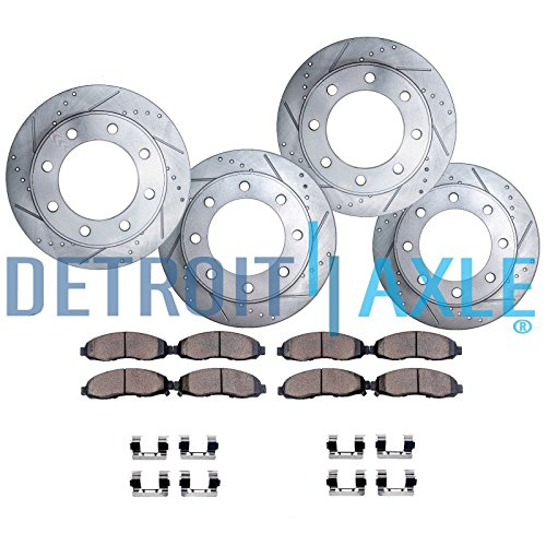 Detroit Axle - 8-LUG FRONT & REAR Drilled & Slotted Brake Rotors & Ceramic Brake Pads w/Hardware fits 2001-2010 Silverado/Sierra 2500HD - [2007-2010 Silverado/Sierra 3500HD Single Rear Wheel]