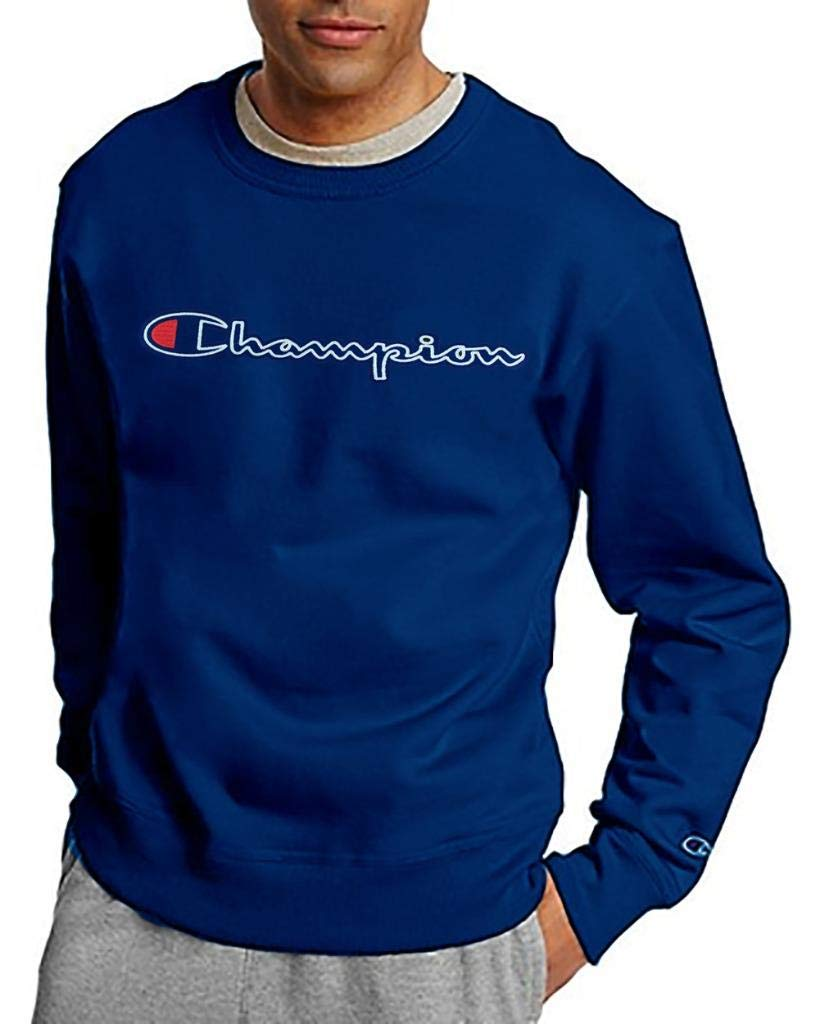 Champion Men's Big & Tall Felt Lettering Script Crew Neck Pullover Fleece (2XL, Surfweb Blue) by Champion