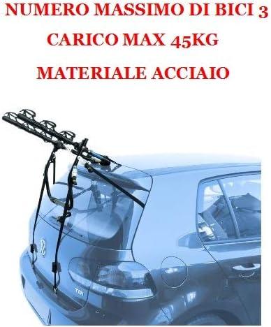 Rails 2013- COMPATIBILE CON Dacia Lodgy PORTABICI POSTERIORE PER AUTO PER 3 BICI PORTA BICICLETTE IN ACCIAIO PER COFANO AUTO RETRO PER 3 CICLO CON REGOLAZIONI DI CINGHIE 5p