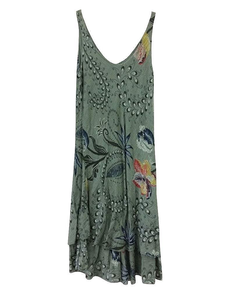 Remikstyt Womens Plus Size Summer Dresses Floral Print Casual Boho ...