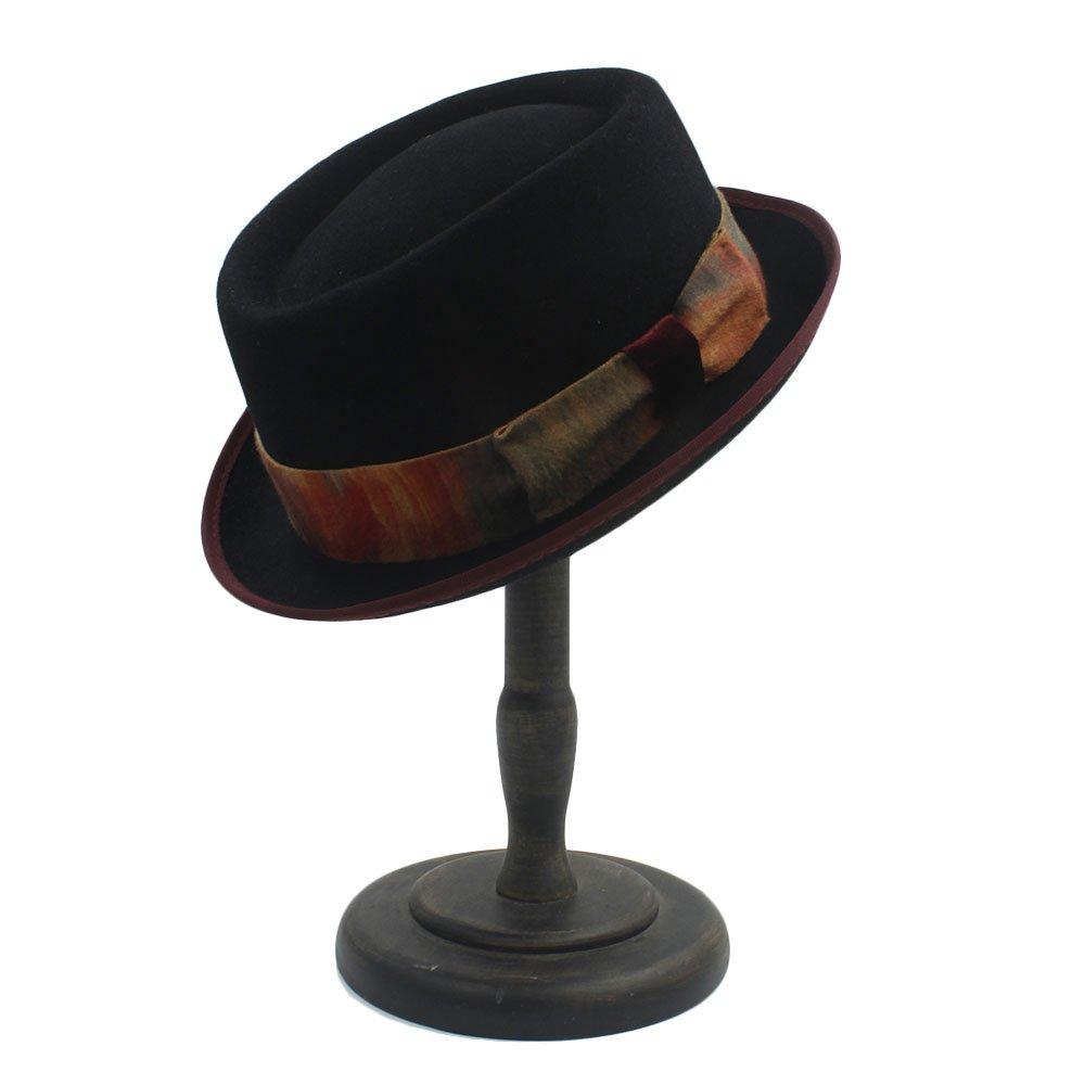 Jane Ge Store Pork Pie Black Wool Vintage Denim Hat with Dyeing Tape