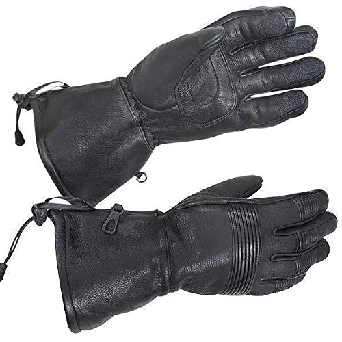 (Xelement XG856 Men's Black Deerskin Insulated Padded Motorcycle Gloves - Small)