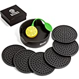 Drink Coasters with Holder Silicone set of 6 Black+Tea Infuser in Gift Box