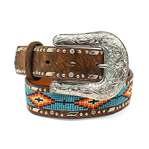 - Ariat Kid's Southwest Beaded Hair-On Belt Brown Size 28