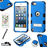 MyTurtle Shockproof Hybrid 3-Layer Hard Silicone Shell Cover with Stylus Pen and Screen Protector for iPod Touch 5th 6th Generation, Blue Black KickStand