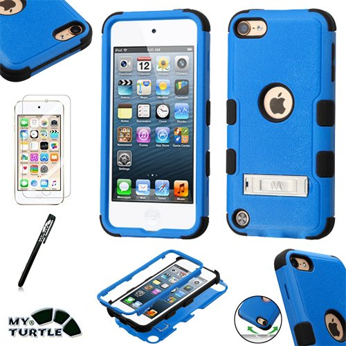 Hybrid Case Hard Silicone Shell High Impact Cover with Stylus Pen and Screen Protector for iPod Touch 5th 6th Generation, Kickstand Blue Black ()