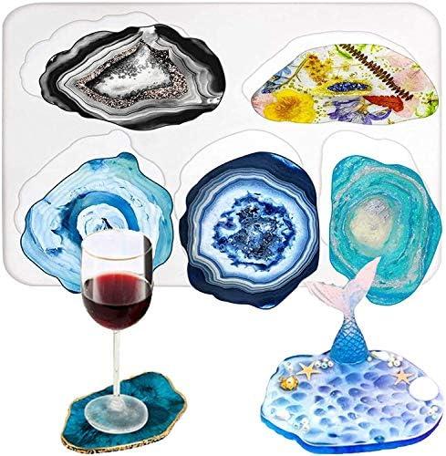 JEZOMONY Coaster R/ésine Coul/ée Moule Silicone Fabrication /Époxy Moule Argile Coaster /Époxy R/ésine Moule pour La D/écoration Artisanat DIY pour Dessous de Verre Tapis de Bol Pack de 4