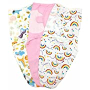 Luyusbaby Newborn Baby Sleeping Bag Swaddle Wrap Receiving Blanket 3 PACK,0-2 Months,Girl