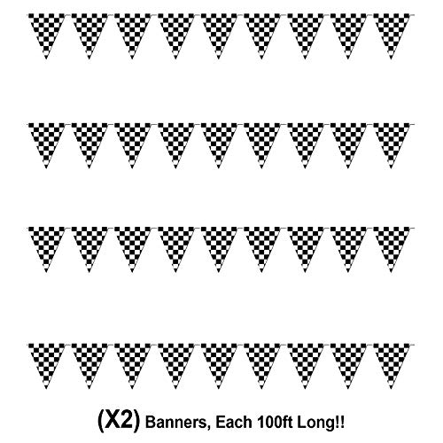 Checkered Flags Black and White 100 FT Pennant Racing Banner | NASCAR Theme Party Decoration Plastic Flag | Race Car Parties D