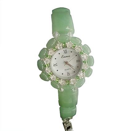 Mesa De Cuarzo De La Mujer De Cristal, Esmeralda Piedra Natural Pulsera Reloj De Perlas De La Señora ...