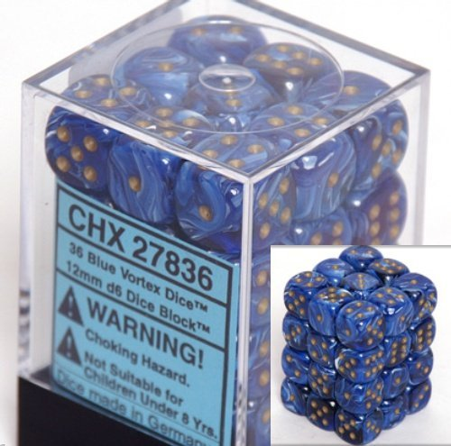Chessex Dice d6 Sets: Vortex Blue with Gold - 12mm Six Sided Die (36) Block of Dice ()